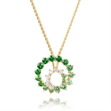 Enigma 18ct Yellow Gold Green Tsavorite and Diamond Pendant thumbnail