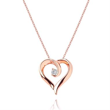 18ct Rose Gold Diamond Swirling Heart Pendant thumbnail