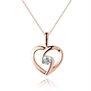 Mon Coeur 18ct Rose Gold Diamond Pendant 0.08ct thumbnail