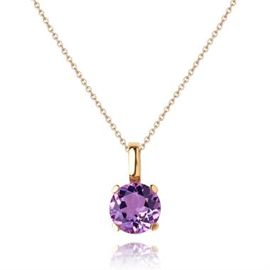 18ct Rose Gold Amethyst Solitaire Pendant thumbnail