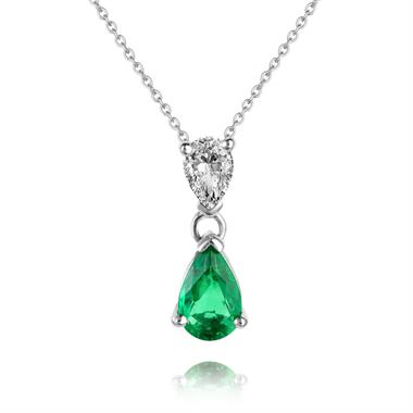 18ct White Gold Pear Shape Emerald and Diamond Drop Pendant thumbnail
