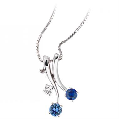 Carnival 18ct White Gold Sapphire and Diamond Pendant thumbnail