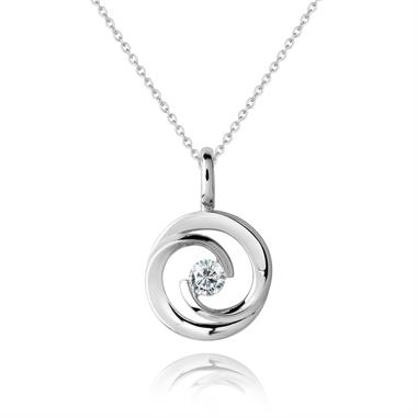 Mon Coeur 18ct White Gold Diamond Pendant 0.08ct thumbnail
