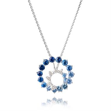 Enigma 18ct White Gold Sapphire and Diamond Pendant thumbnail