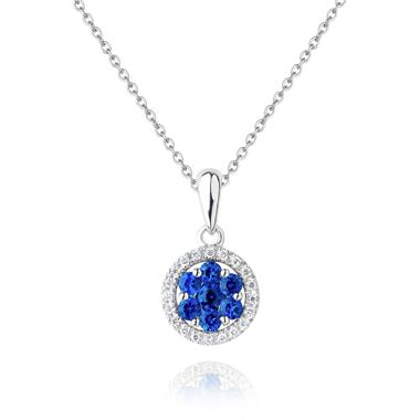 18ct White Gold Illusion Detail Sapphire and Diamond Pendant thumbnail