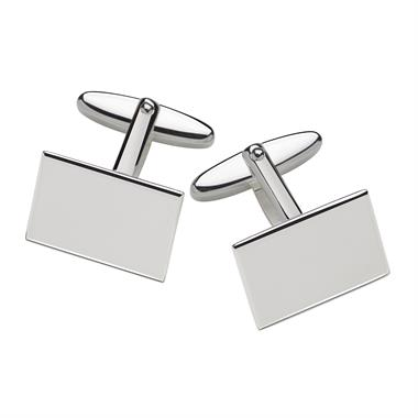 Sterling Silver Rectangle Design Cufflinks thumbnail