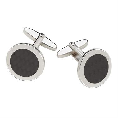 Sterling Silver Carbon Fibre Detail Cufflinks thumbnail