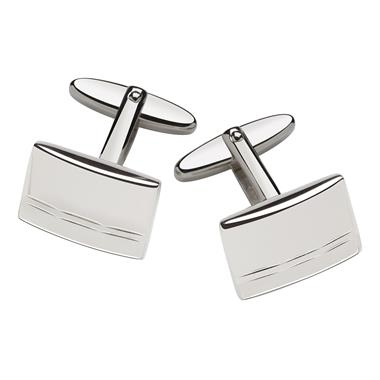 Sterling Silver Diamond Cut Detail Cufflinks thumbnail