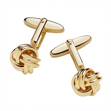 Yellow Gold Plated Knot Design Cufflinks thumbnail
