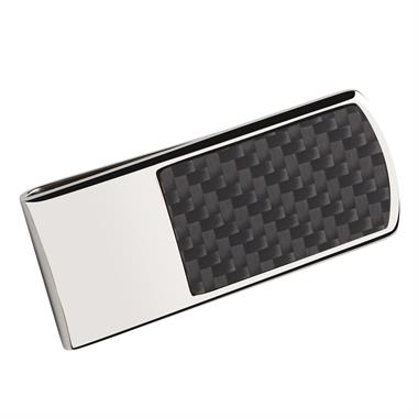 Sterling Silver Carbon Fibre Detail Money Clip thumbnail