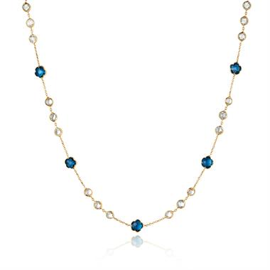 Bloom 18ct Yellow Gold Blue Topaz Necklace 45cm thumbnail