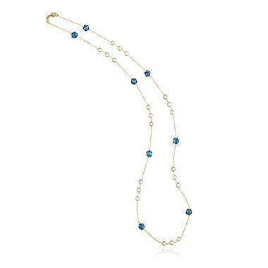 Bloom 18ct Yellow Gold Blue Topaz Necklace Long thumbnail