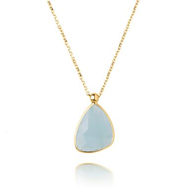 Lara 18ct Yellow Gold Aquamarine Necklace thumbnail