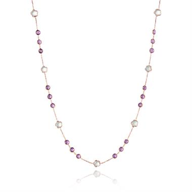 Bloom 18ct Rose Gold Amethyst Necklace 45cm thumbnail