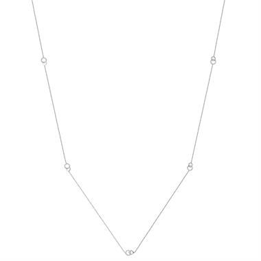 Union 18ct White Gold Diamond Station Necklace thumbnail