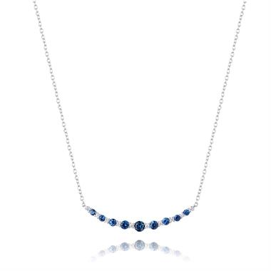 18ct White Gold Diamond Sapphire Curved Necklace thumbnail