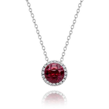 Mosaic 18ct White Gold Ruby and Diamond Halo Necklace thumbnail