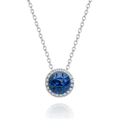 Mosaic 18ct White Gold Sapphire and Diamond Necklace thumbnail