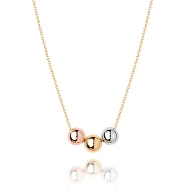 Unico 18ct Gold Three Colour Ball Necklace thumbnail