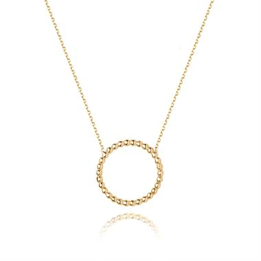 Aura 18ct Yellow Gold Ball Circle Necklace thumbnail