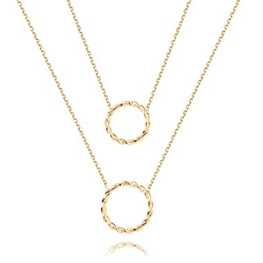 Aura 18ct Yellow Gold Circle Design Double Necklace thumbnail