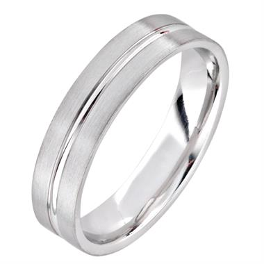 Platinum Modern Groove Wedding Ring thumbnail