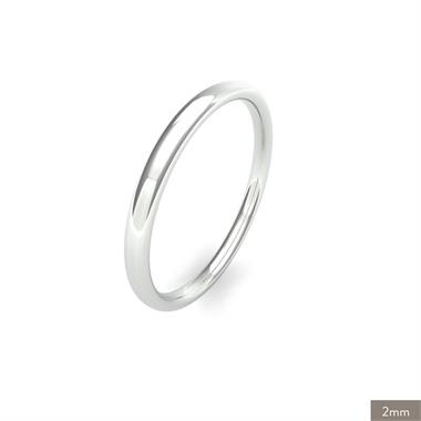 18ct White Gold Intermediate Gauge Slight Court Wedding Ring thumbnail