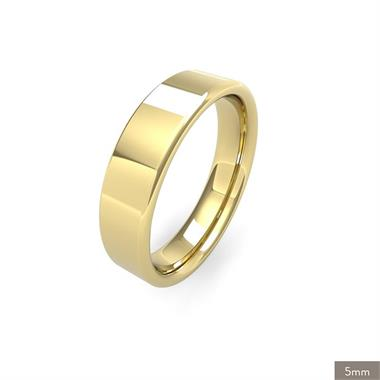 18ct Yellow Gold Medium Gauge Flat Court Wedding Ring thumbnail
