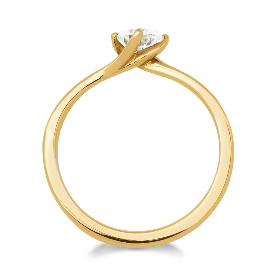 18ct Yellow Gold 0.50ct Diamond Twist Solitaire Engagement Ring Thumbnail Image 1