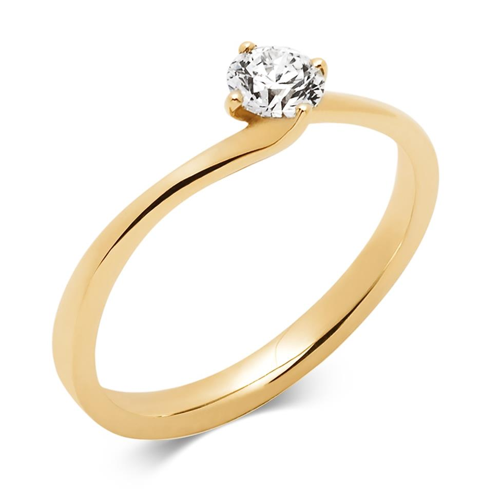 18ct Yellow Gold Twist Design Diamond Solitaire Engagement Ring 0.35ct Thumbnail Image 0