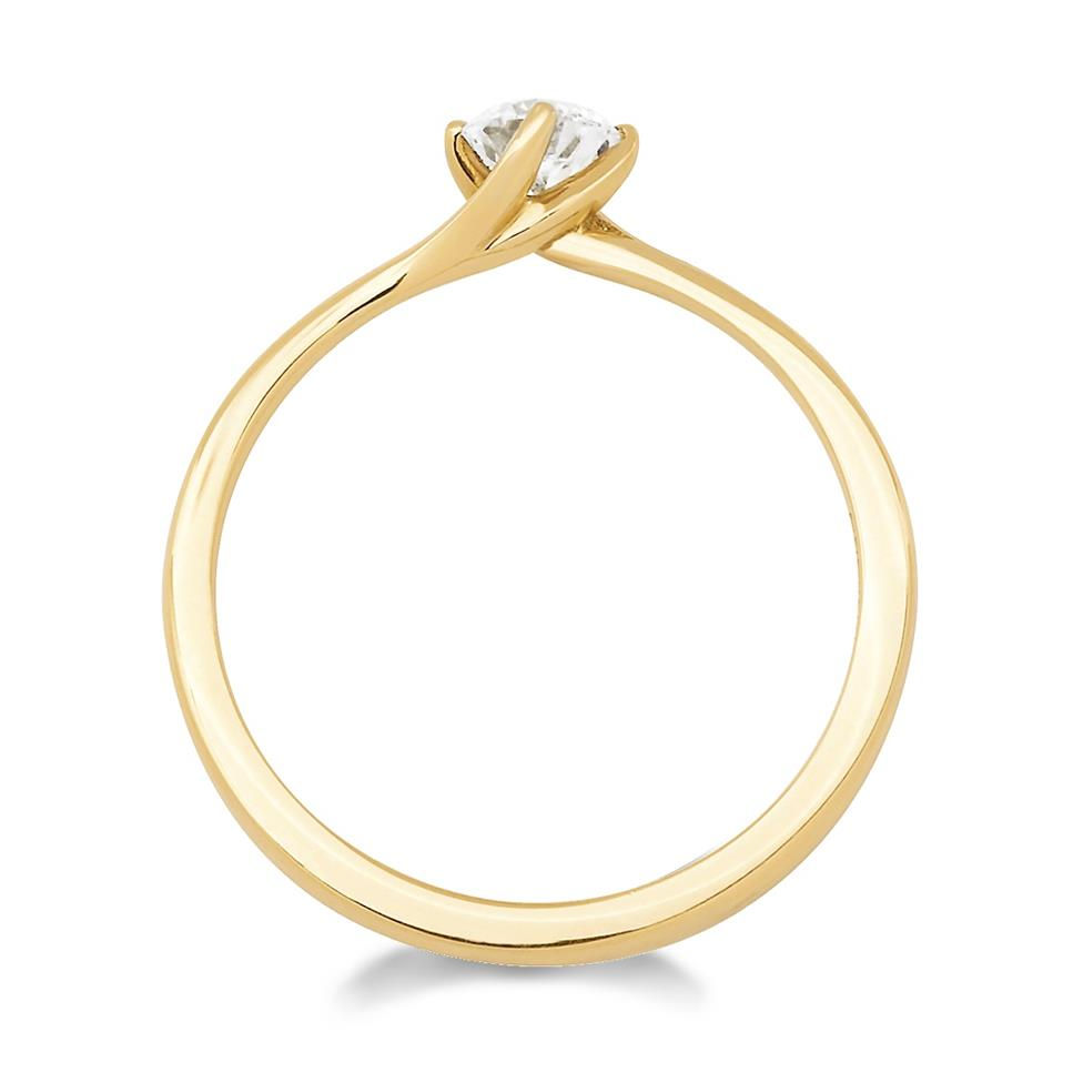 18ct Yellow Gold Twist Design Diamond Solitaire Engagement Ring 0.35ct Thumbnail Image 1