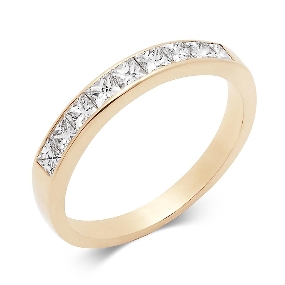 18ct Yellow Gold Princess Cut Diamond Half Eternity Ring 0.60ct Thumbnail Image 0