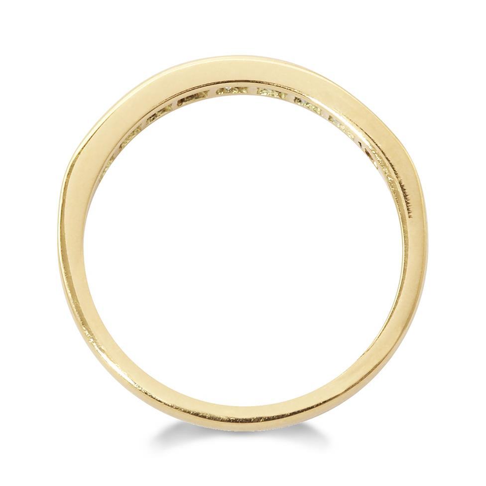 18ct Yellow Gold Princess Cut Diamond Half Eternity Ring 0.60ct Thumbnail Image 1