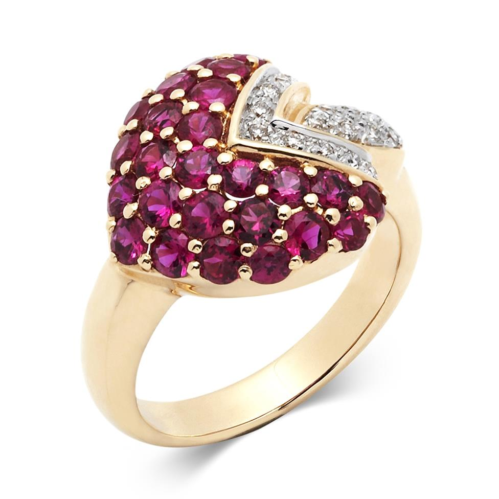 18ct Yellow Gold Ruby and Diamond Heart Shape Ring Thumbnail Image 0