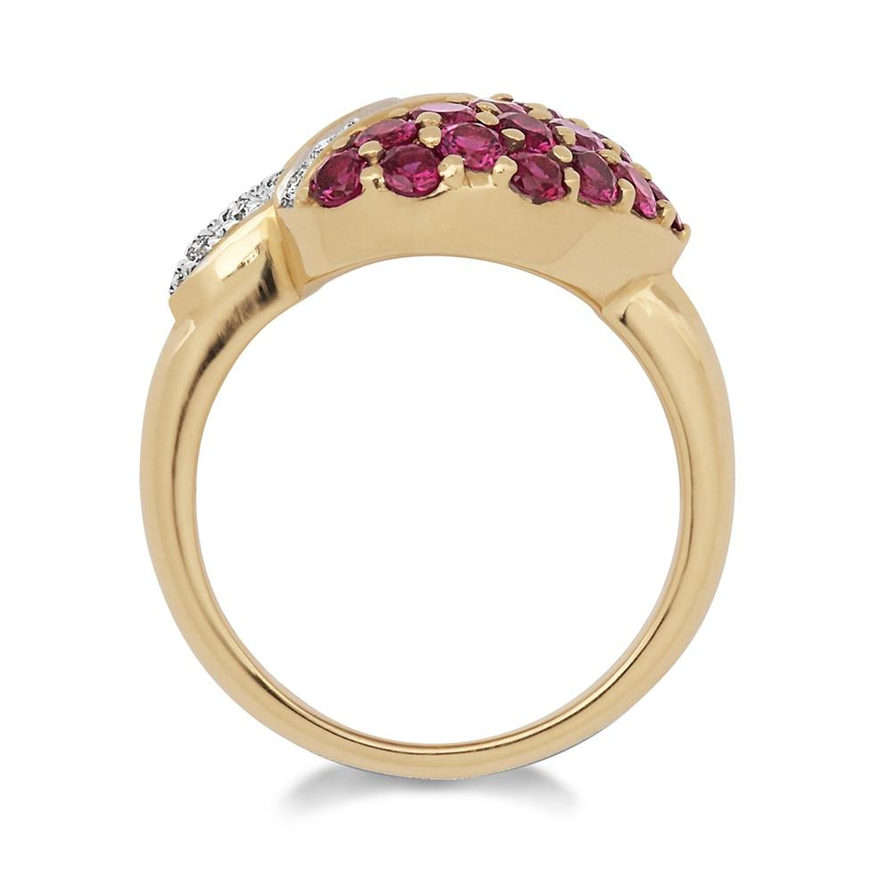 18ct Yellow Gold Ruby and Diamond Heart Shape Ring Thumbnail Image 1