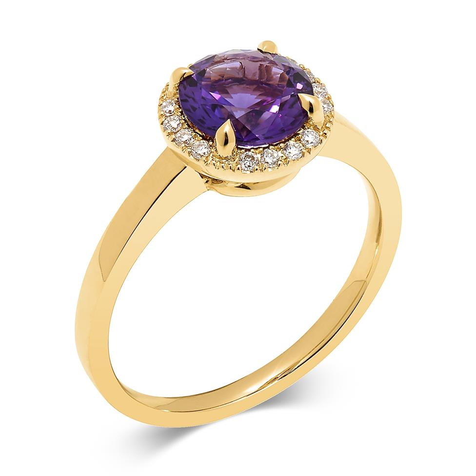 Camellia 18ct Yellow Gold Amethyst and Diamond Ring Thumbnail Image 0
