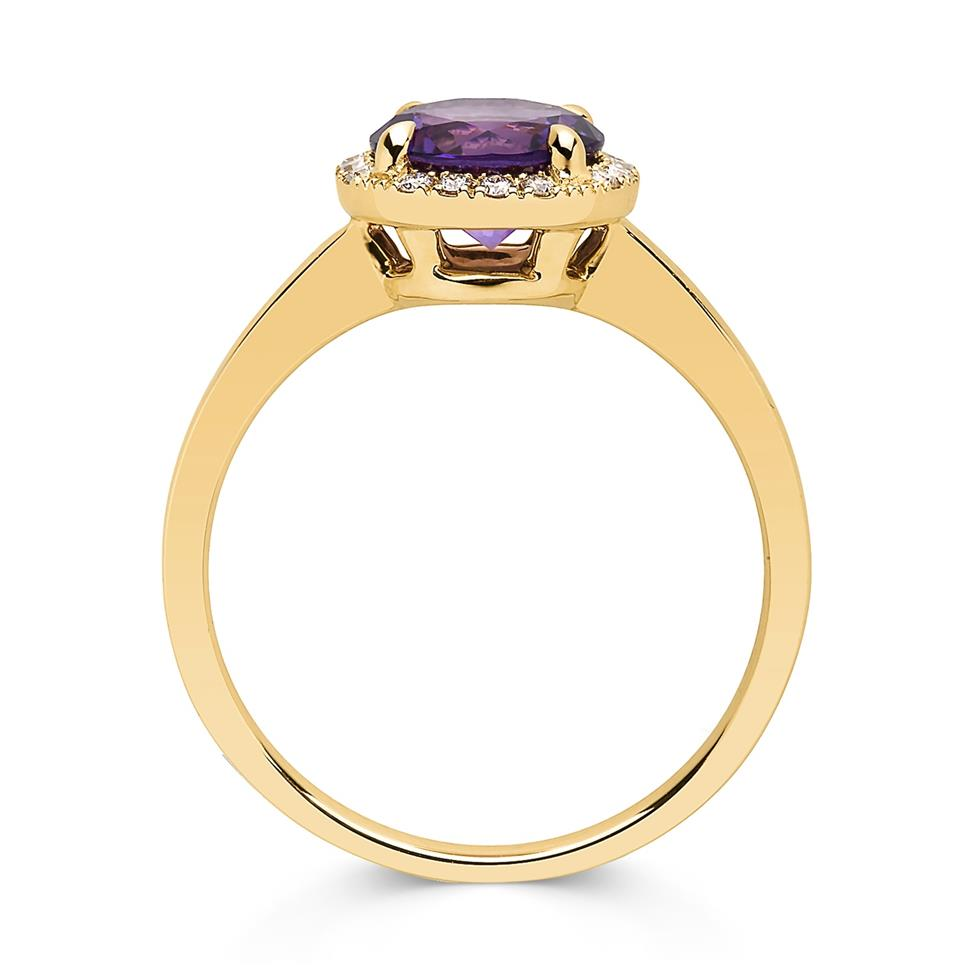 Camellia 18ct Yellow Gold Amethyst and Diamond Ring Thumbnail Image 1