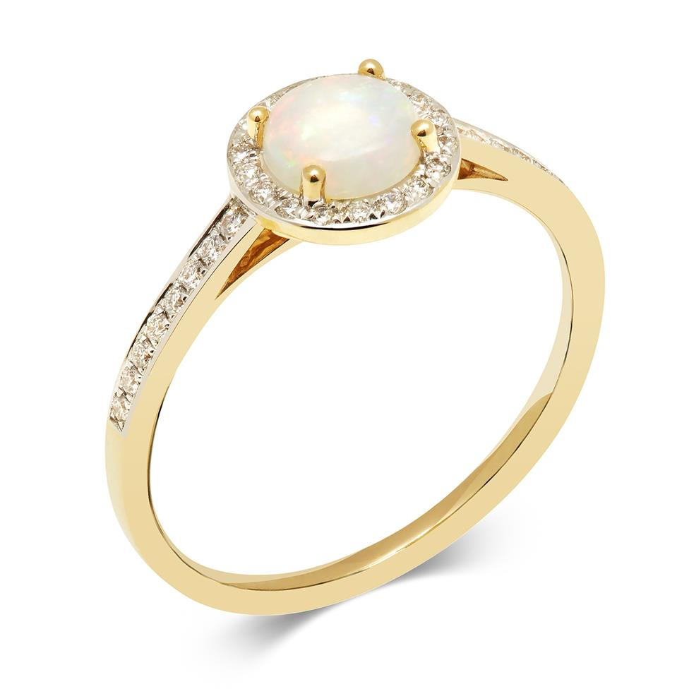 18ct Yellow Gold Opal and Diamond Round Cluster Dress Ring Thumbnail Image 0