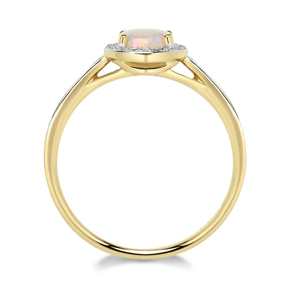 18ct Yellow Gold Opal and Diamond Round Cluster Dress Ring Thumbnail Image 2