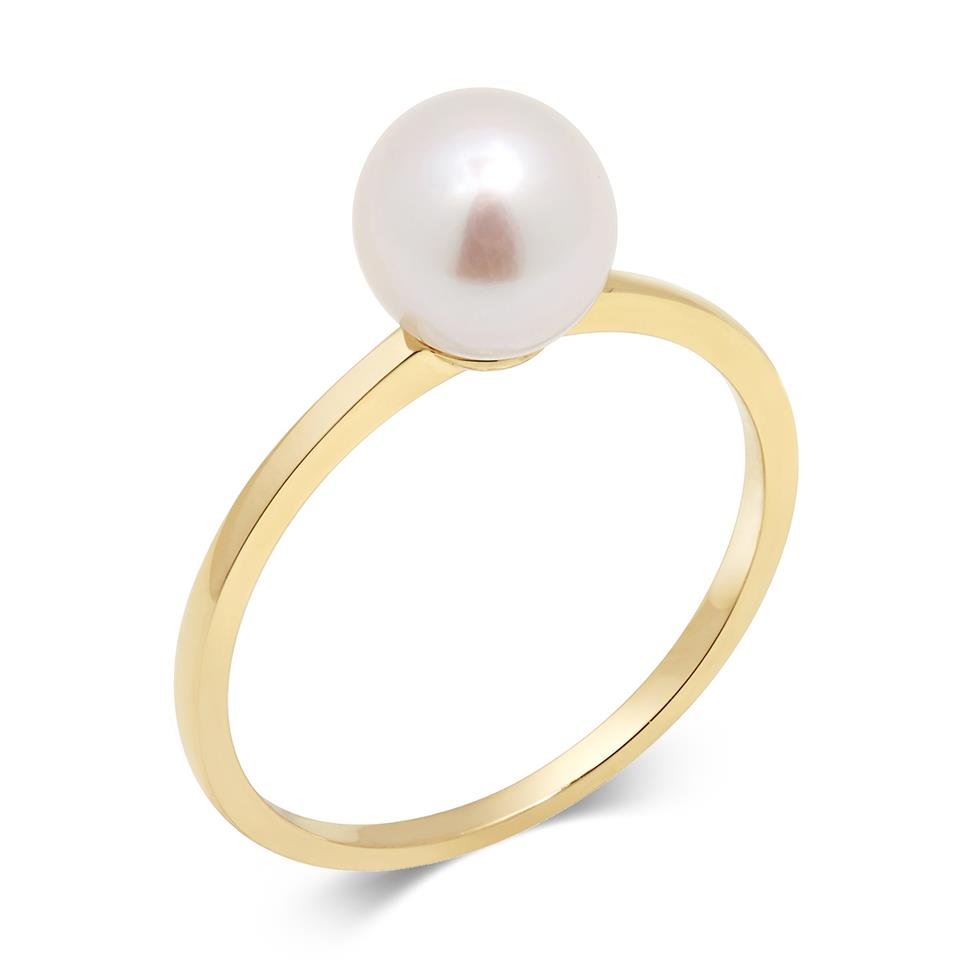 18ct Yellow Gold Freshwater Pearl Dress Ring Image 1