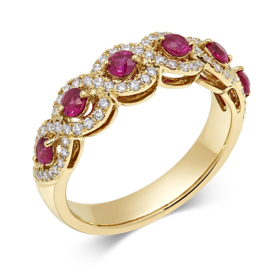 Oriana 18ct Yellow Gold Ruby and Diamond Dress Ring Thumbnail Image 0