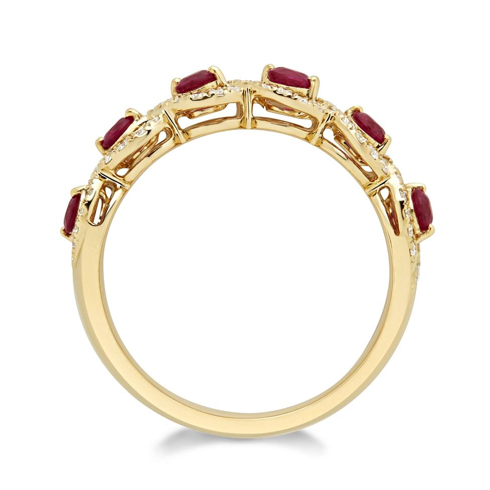 Oriana 18ct Yellow Gold Ruby and Diamond Dress Ring Thumbnail Image 2