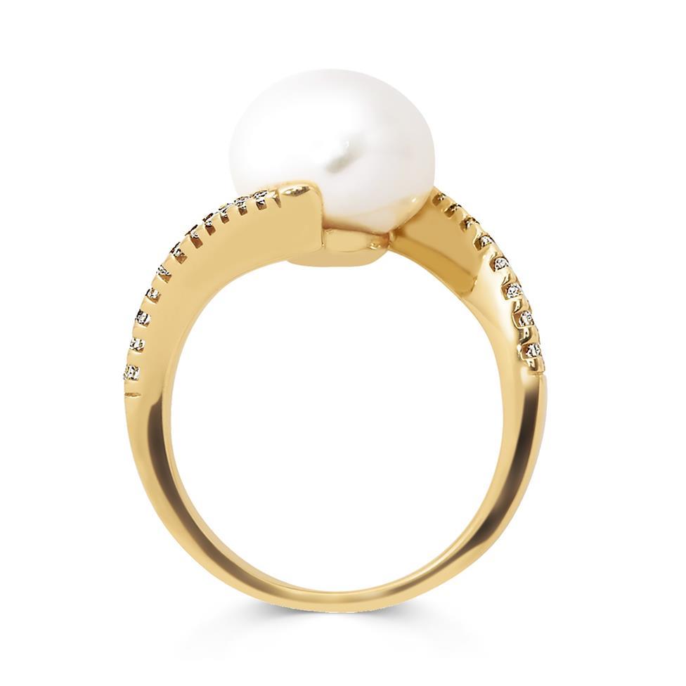 18ct Yellow Gold Twist Design Pearl and Diamond Dress Ring Thumbnail Image 1