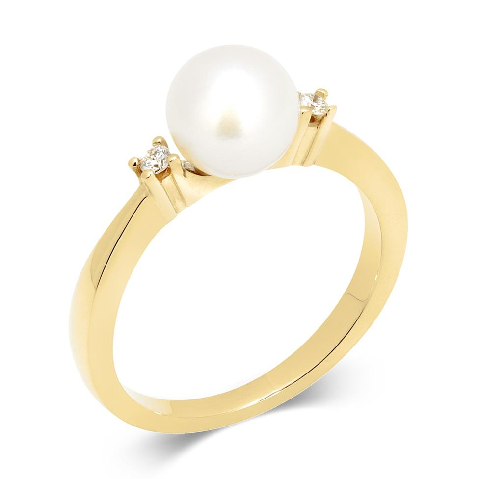 18ct Yellow Gold Pearl and Diamond Classic Ring Thumbnail Image 0