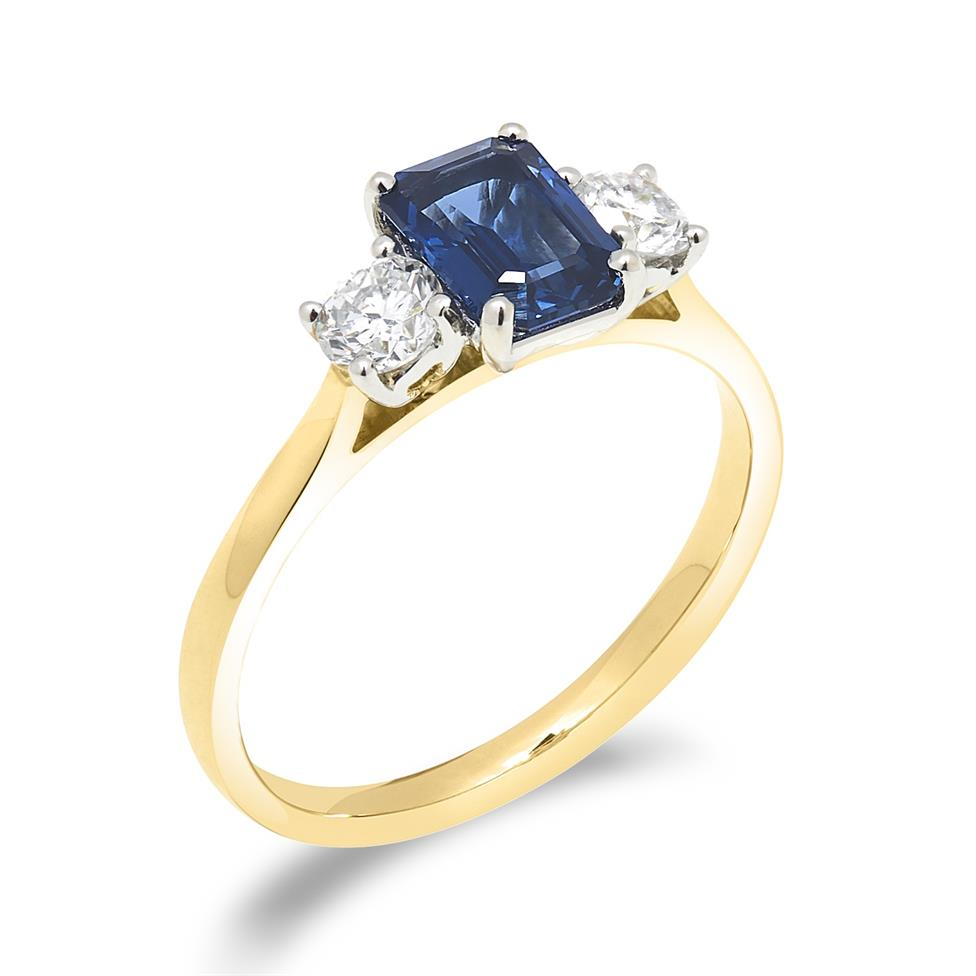 18ct Yellow Gold Sapphire and 0.36ct Diamond Three Stone Ring Thumbnail Image 0