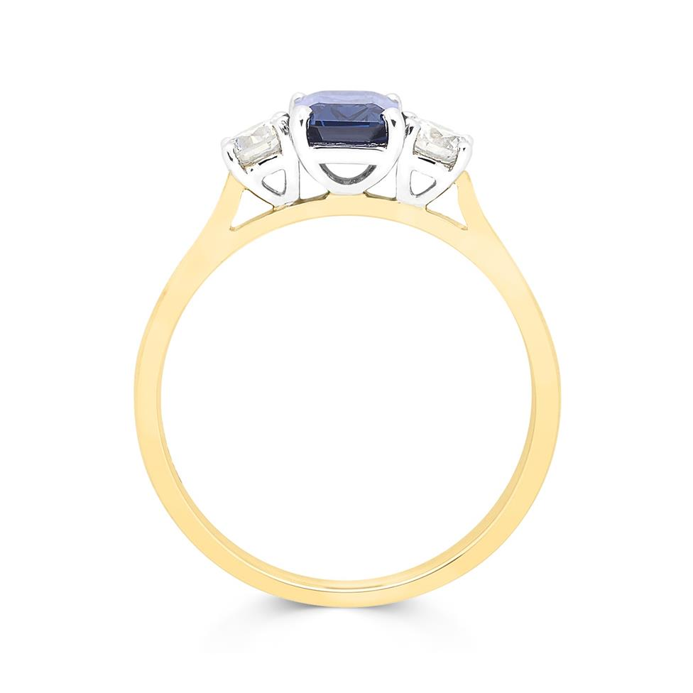 18ct Yellow Gold Sapphire and 0.36ct Diamond Three Stone Ring Thumbnail Image 1