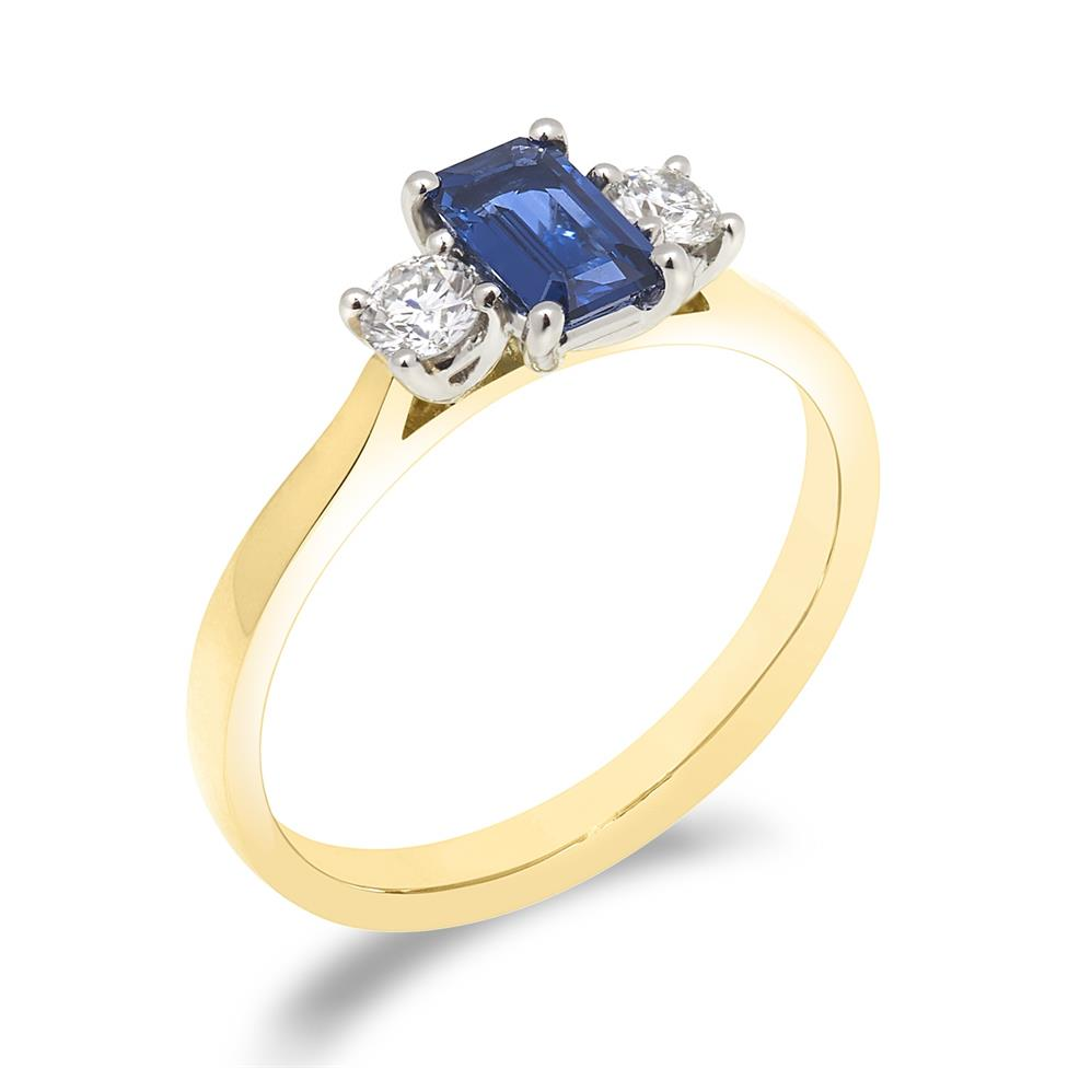 18ct Yellow Gold Sapphire and 0.24ct Diamond Three Stone Ring Thumbnail Image 0