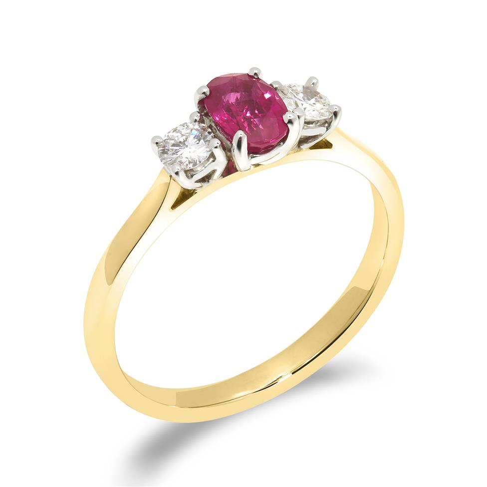 18ct Yellow Gold Oval Ruby and Diamond Three Stone Ring Thumbnail Image 0