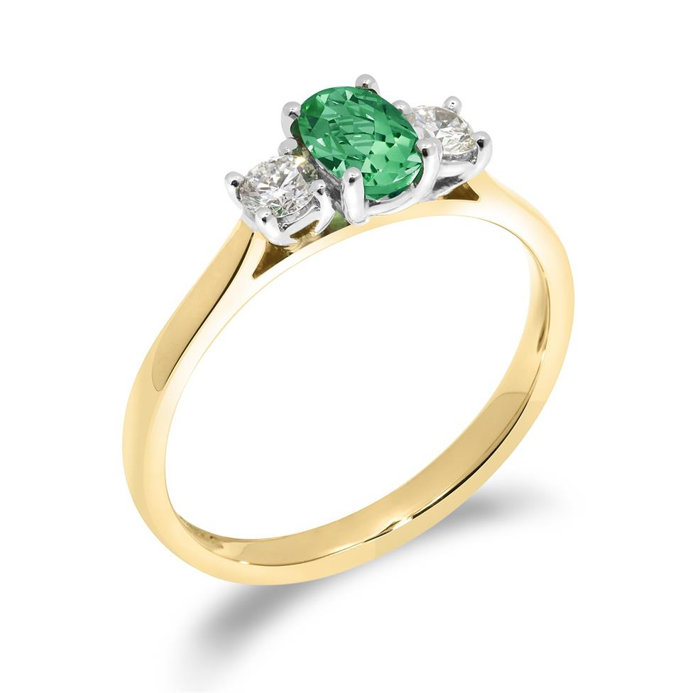 18ct Yellow Gold Oval Emerald and Diamond Three Stone Ring Thumbnail Image 0