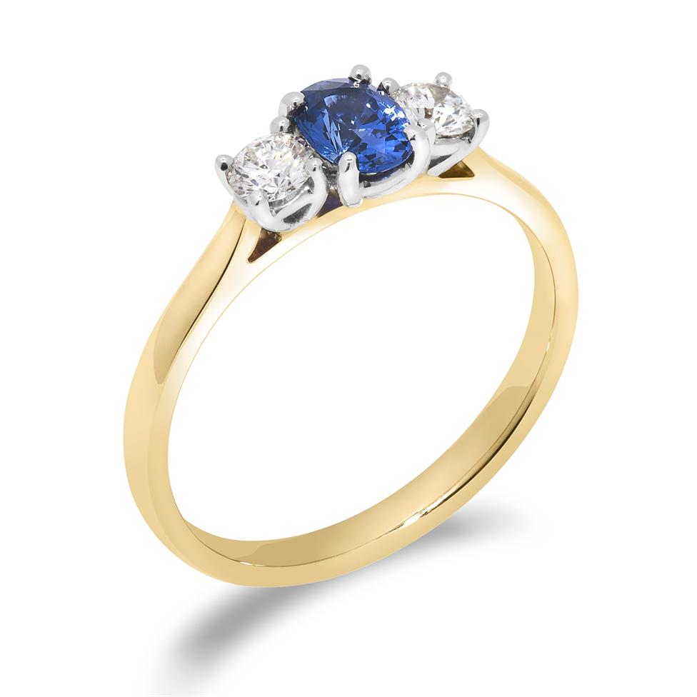 18ct Yellow Gold Oval Sapphire and Diamond Three Stone Ring Thumbnail Image 0